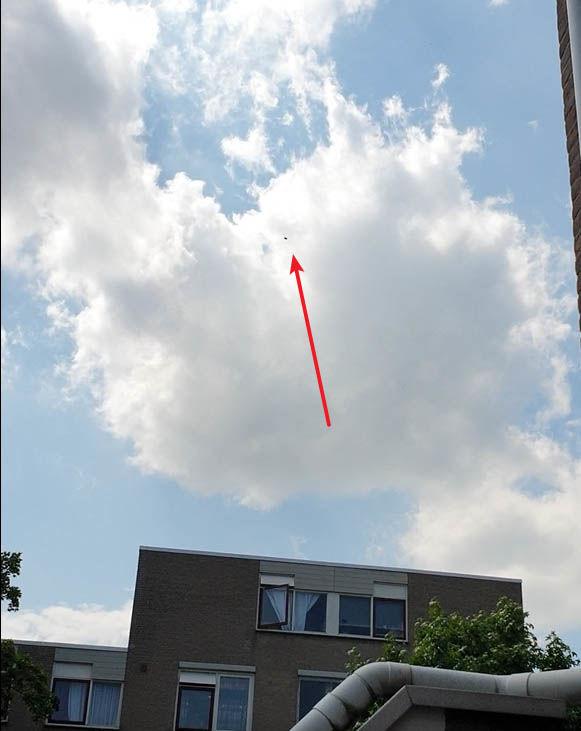 Zwarte leek met het oog op een driehoek op grote hoogte foto