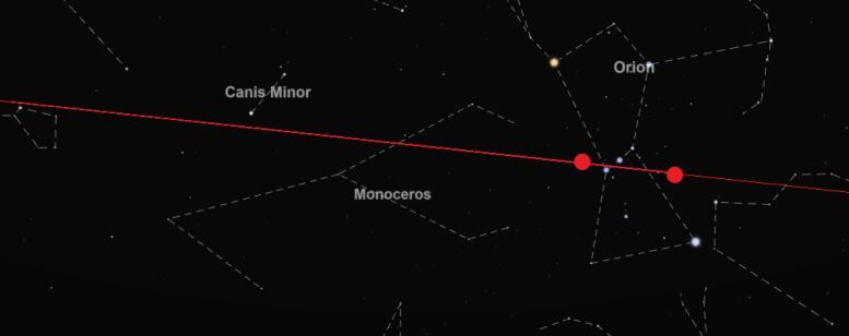 Twee doffe punten met een constante h.o.h. afstand bewogen langs Orion foto