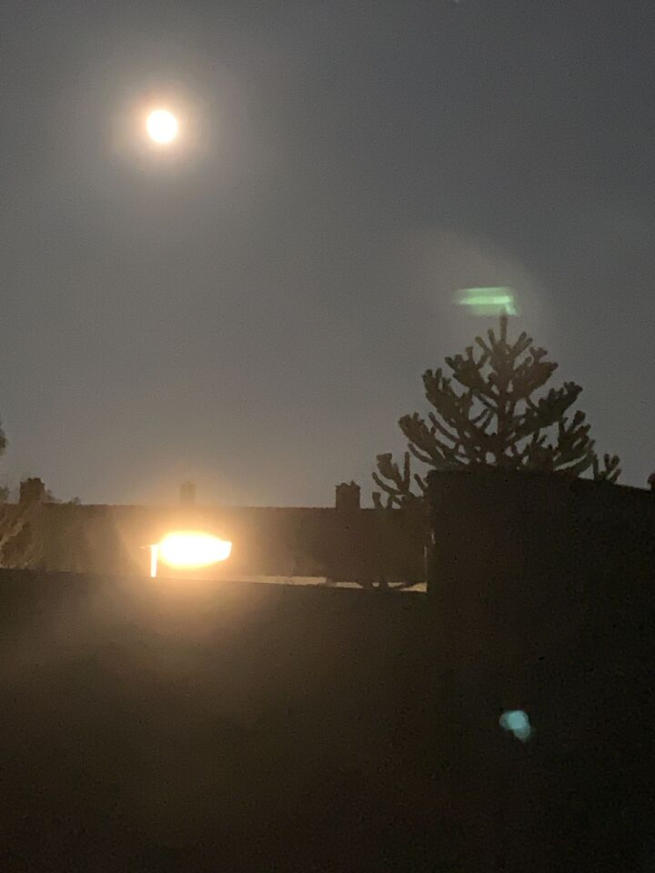 Terugkijken van een foto die ik maakte van de maan. foto