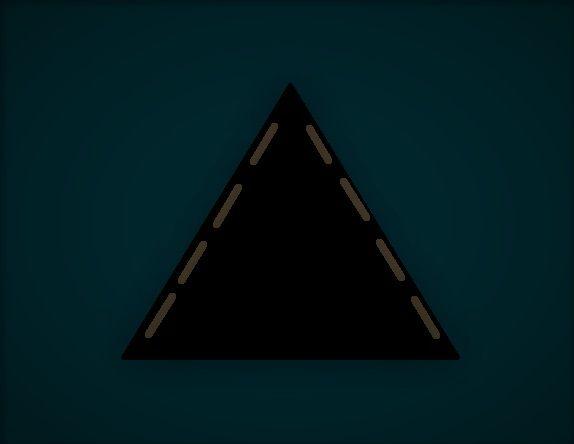 Donkere grote driehoek, met zes gedimde lampen vliegt over. foto