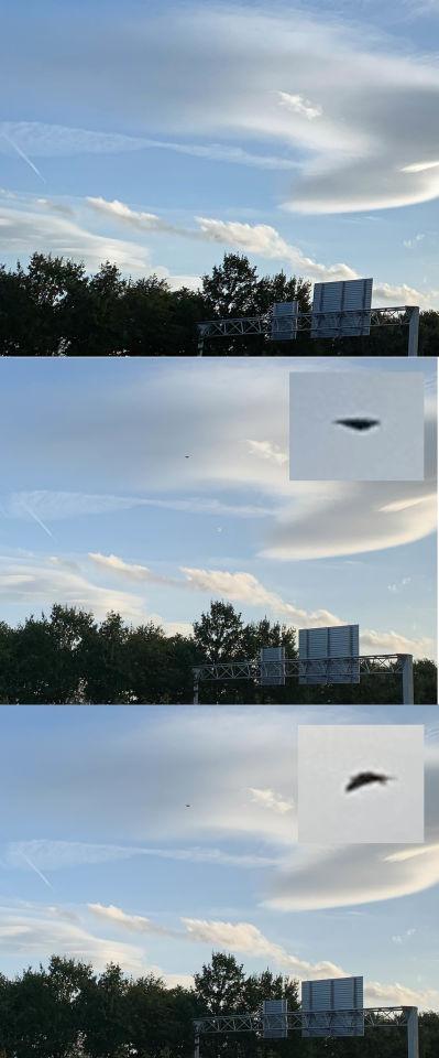 Een zwart bewegend object, drie foto's in een seconde. foto
