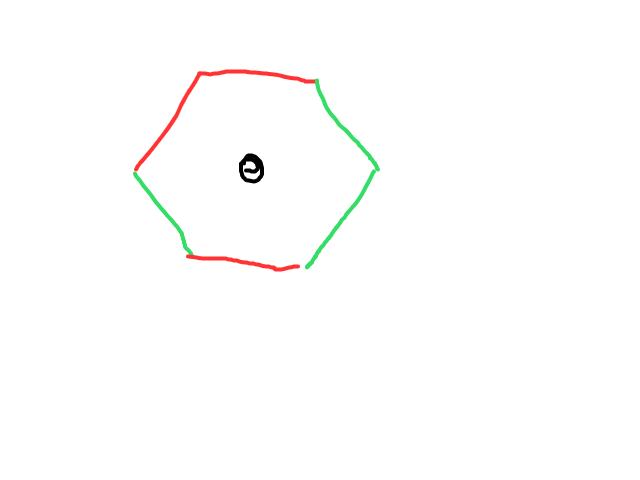 Zeshoekig bol voorwerp in de lucht schets