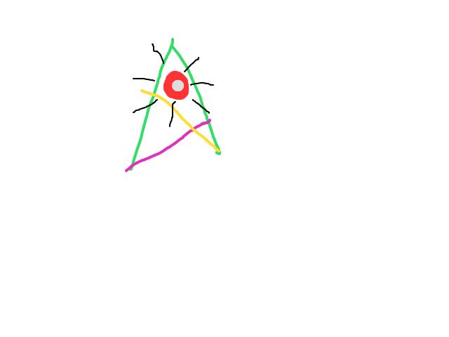 Driehoek die licht gaf vanaf 1 punt schets