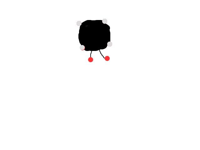 """Cirkel met op de 4 """"hoeken"""" witte lichten, en twee zwevende rode lichte erachter schets"""