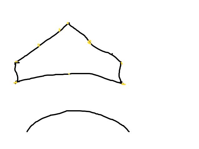 Een groep lichtpunten in boemerangvorm met constante snelheid door de lucht schets