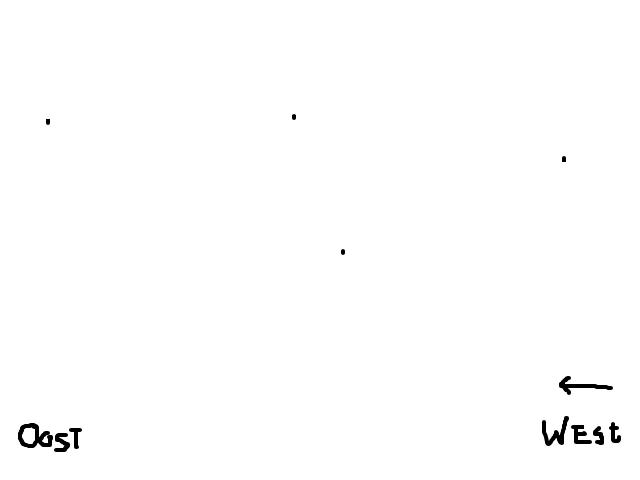 4 lichtbollen die met een zelfde snelheid en hoogte achter elkaar volgden. schets
