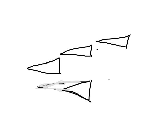 4 driehoeken in V formatie, 3 boven, 1 beneden schets
