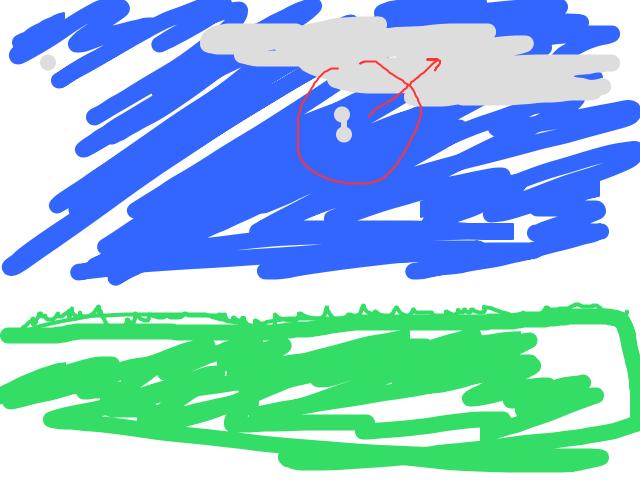 Twee bollen onder elkaar, tussen de wolken schets
