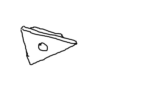 1 fel licht in groot donker object. schets