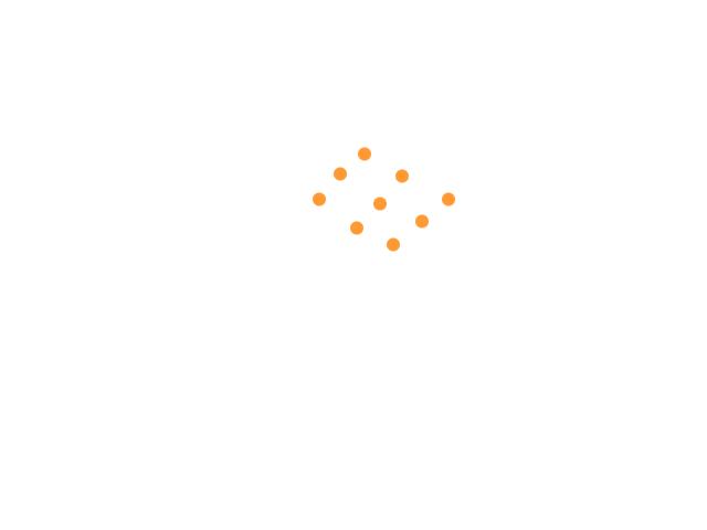 Formatie van lichten bewegend in een constante baan, hoog geen geluid schets
