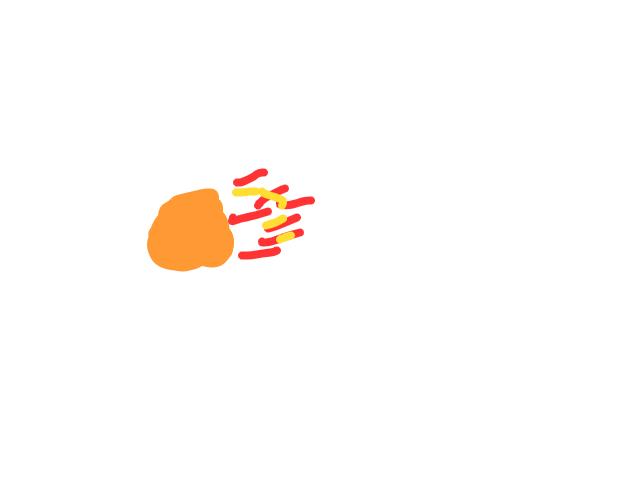 Oranje bal met vuur achter schets