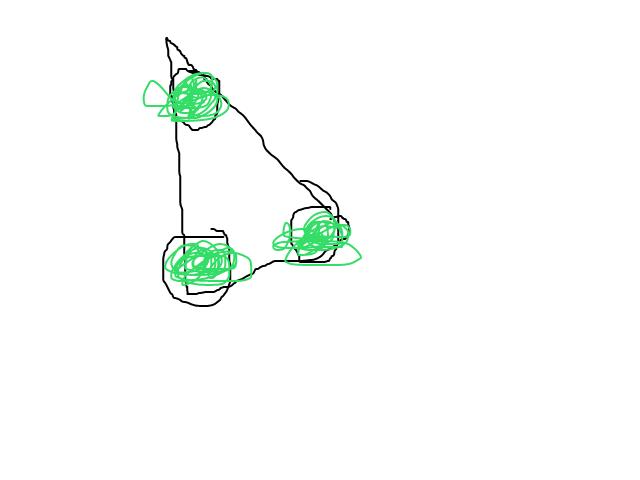 Waarneming blijft me achtervolgen. driehoek met 3 petrol kleurige ballen schets