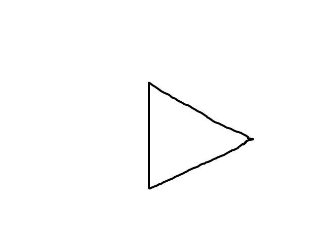 Driehoekig object met hoge snelheid schets