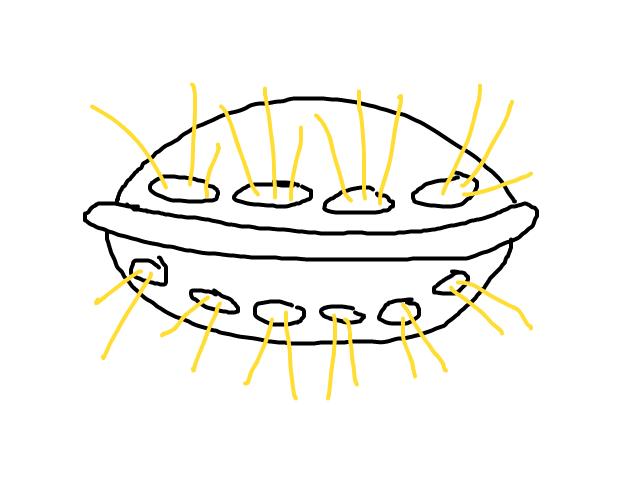 Traditionele UFOvorm in de nacht op Zuid, dichtbij en zeer groot schets
