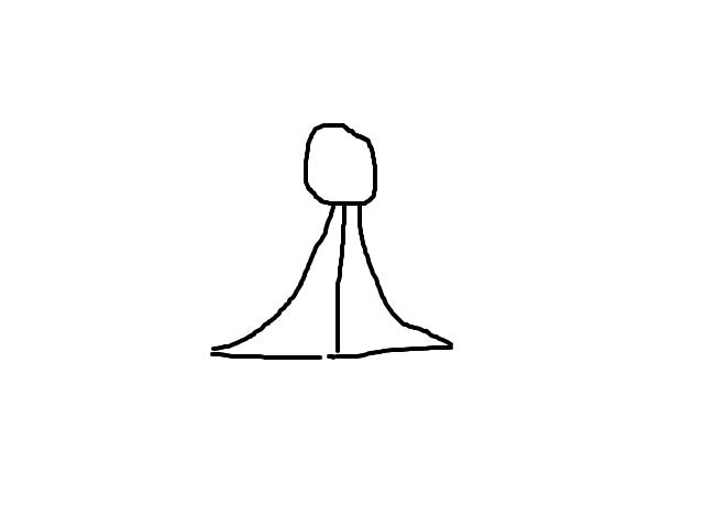 Felle witte bol met naar onderschijnend licht in een driehoek schets