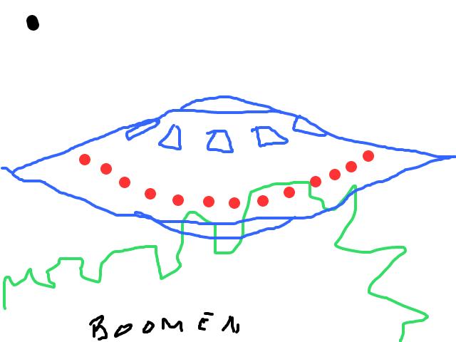 OP VIDO EEN UFO BOVEN DE BOMEN schets