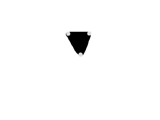 Donker Driehoekig object met 3 vervaagde lichtjes in de hoeken. schets