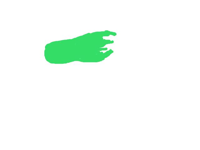 Een forse groene lichtbonk met staart die wisselde van lengte en lichtintentie schets