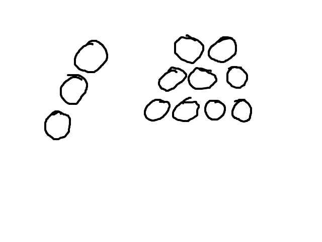 Uit bollen bestaand langzaam wentelend voorwerp van Z.O. naar West. schets