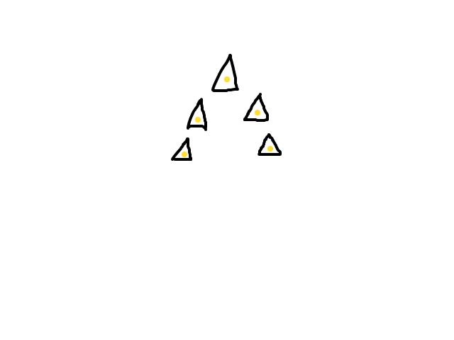 Kleine lichtgevende driehoekvormige objecten in een driehoek formatie. schets