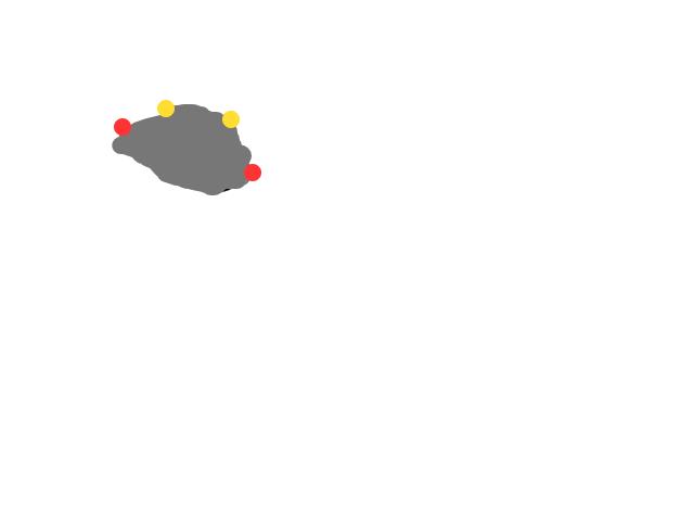 Vier lichtpunten in halve cirkel schets
